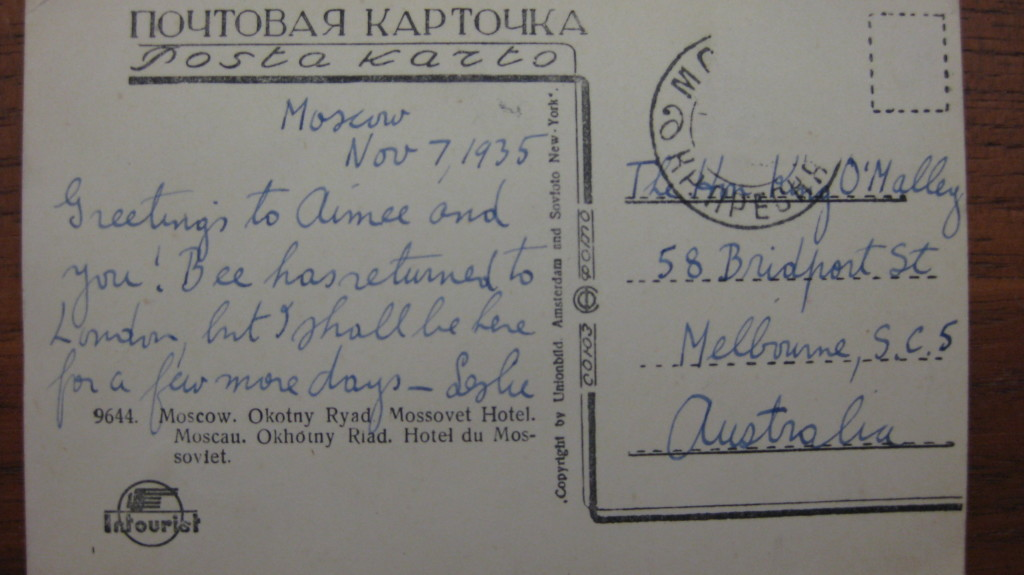 1935 92 7 Nov Back of Postcard of Russia from LCJ to KOM transcribed into doc.