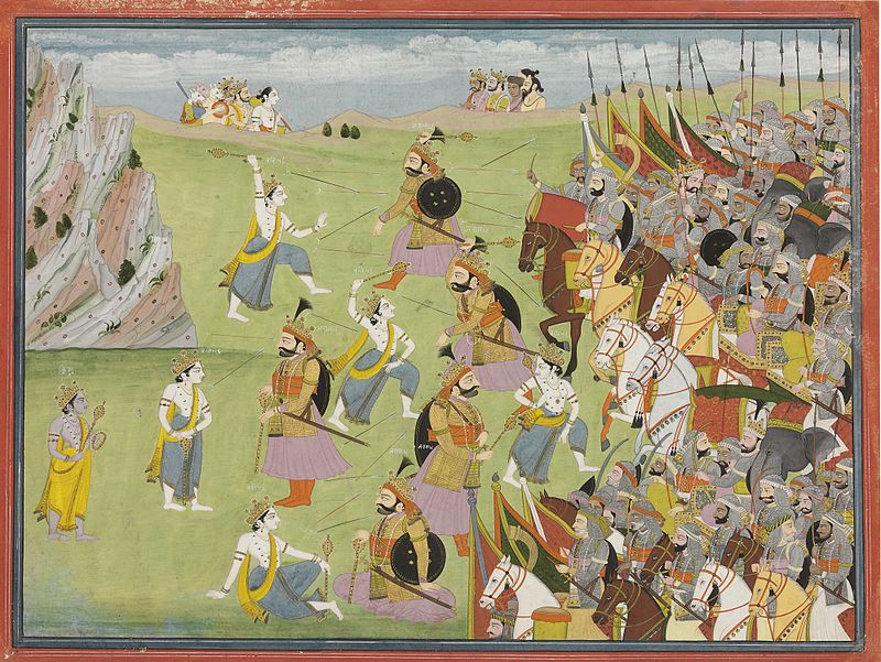800px-A_painting_from_the_Mahabharata_Balabhadra_fighting_Jarasandha