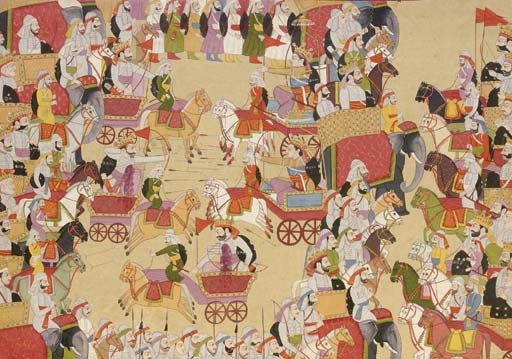 http://commons.wikimedia.org/wiki/File:A_battle_scence_from_Mahabharata.jpg