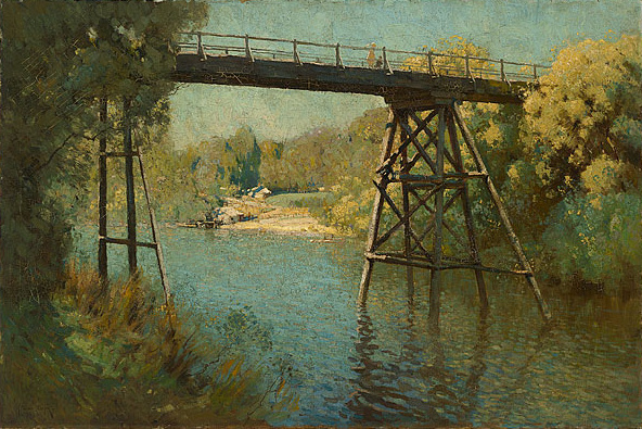 Penleigh_Boyd_-_Bridge_and_Wattle_at_Warrandyte,_1914